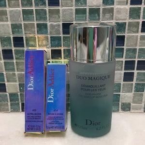 Dior Addict lipgloss, lipstick, eye makeup remover